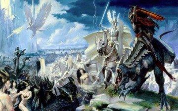 battle, the battle, elves, dark, warhammer, riders