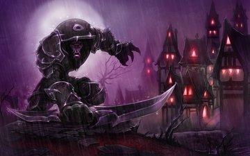 warrior, the city, rain, world of warcraft, worgen, the robber