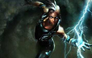 girl, warrior, lightning, storm, aggression