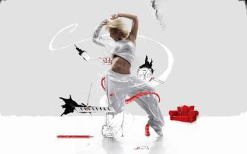 девушка, движение, танец