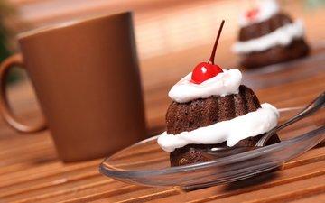 крем для торта, еда, кофе, сладости, вишня, шоколад, сладкое, сливки, десерт, пироженное, пирожное, вишенка