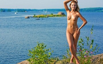 lake, girl, island, figure, nude, the goddess in nature