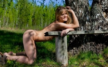 forest, girl, pose, bench, nude