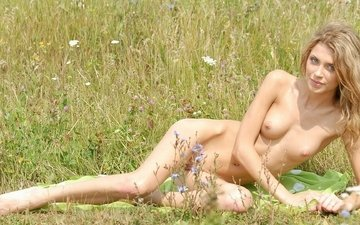 girl, blonde, meadow, nude