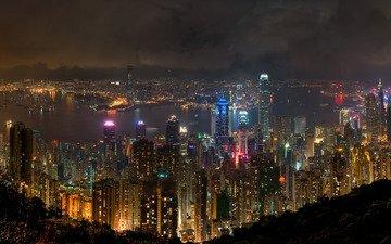 ночь, река, неон, небоскребы, окна, гонконг
