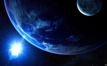 свет, земля, космос, луна, планеты, спутник