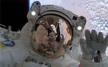 космос, космонавт, открытый, скофандр
