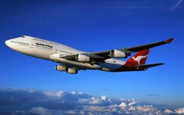 боинг, лайнер, 747, qantas, австралийские, авиалинии, вид с высоты, австралийская