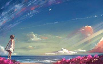 небо, рисунок, море, девочка, ожидание