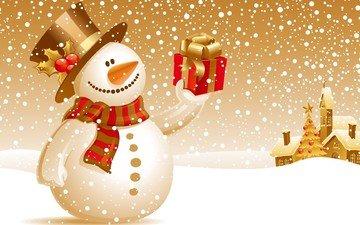 снег, новый год, зима, снеговик, подарок, елочная