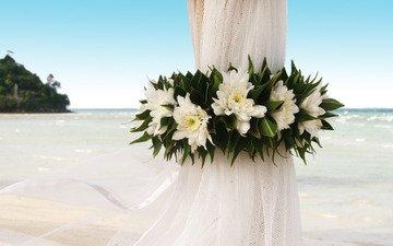 цветы, берег, океан, свадьба, занавеска, событие