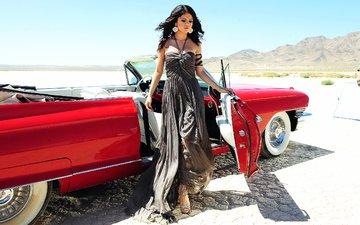 девушка, пустыня, красный, кадилак