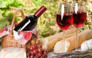 виноград, сыр, хлеб, вино, франция, бокалы, пикник