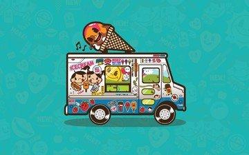 вектор, мороженое, фургон