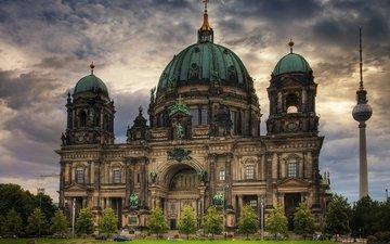 небо, собор, германия, купол, берлинский кафедральный собор
