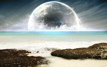 sea, beach, the moon, the full moon