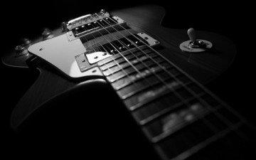 гитара, чёрно-белое, черный, струны, рок