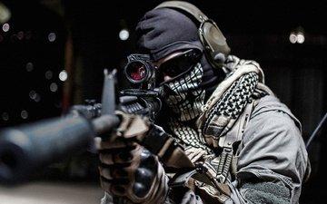 маска, очки, винтовка, солдат, м16, призрак, оптический прицел