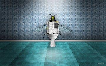 newspaper, bee, news, toilet