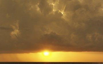 небо, облака, солнце, утро, горизонт, рассвет