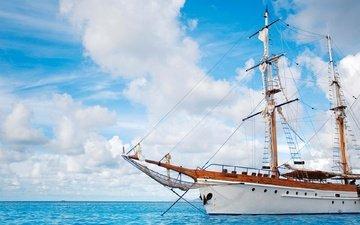 небо, облака, море, корабль, яхта, паруса