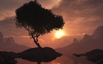 горы, дерево, закат