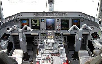 самолет, кабина, монитор, панель, штурвал