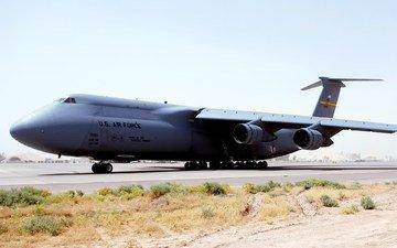 самолет, транспорт, взлетная полоса, грузовой