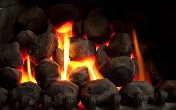 камни, огонь, камин, тепло, уют
