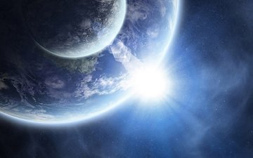 the sun, earth, space, planet