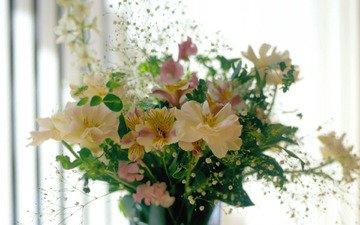 цветы, композиция, букеты, альстромерия, гипсофила