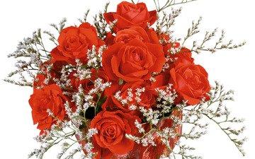 розы, роза, красные, букет, всех, с, женщин, днём, наступающим