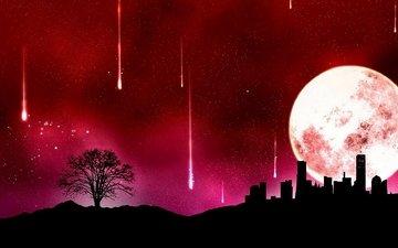 the city, the moon, starfall