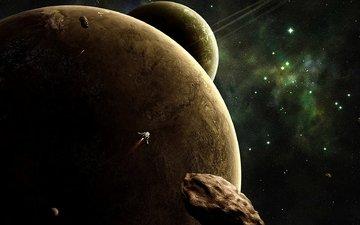 космос, звезды, планеты, шатл