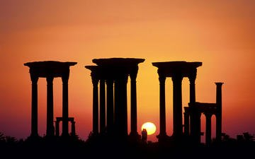 the evening, the sun, sunset, columns