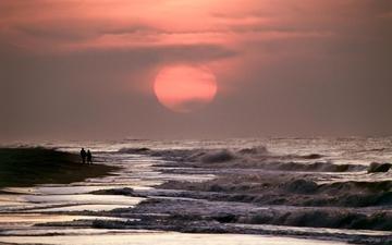 волны, закат, море, прогулка, прибой, двое