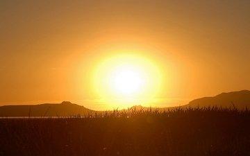 горы, солнце, закат