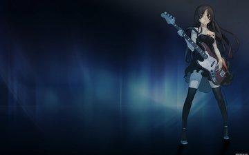 девушка, гитара, аниме, k-on, музыкант, мио, акияма