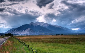 небо, дорога, облака, пейзаж, гора, асфальт, ограда