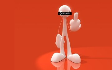 человек, человечек, красный фон, жест, 3д графика, цифровое искусство