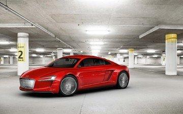 красный, гараж, ауди, концепт-кар, е-tron