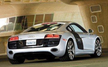 авто, серая, автомобиль audi r8
