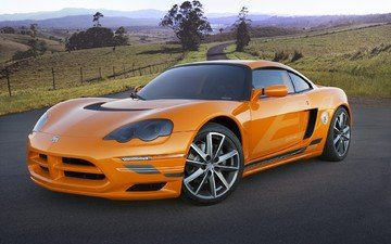 road, orange, sports car, dodge