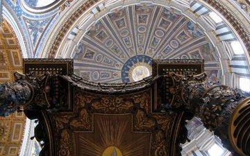 интерьер, церковь, здание, купол, ватикан, собор святого петра, кафедральный собор, базилика святого петра