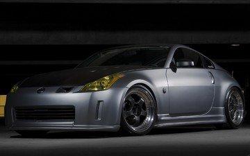 серый, гараж, nissan 350z