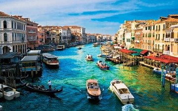 венеция, канал, катер, гандола