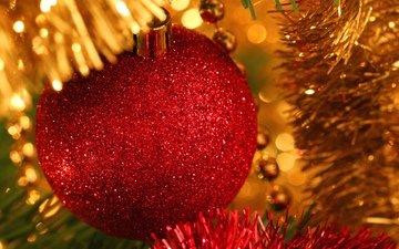 новый год, зима, блеск, шар, праздник, мишура