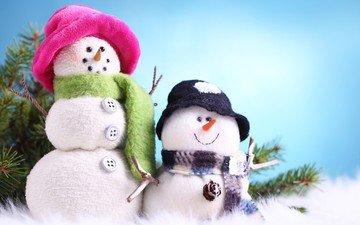 новый год, зима, снеговик