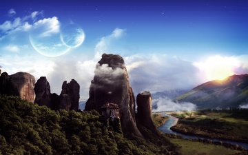 горы, пейзаж, фантастика, планеты, монастырь