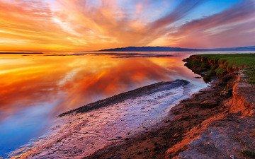 вода, природа, берег, пейзаж, море, закат солнца, океан